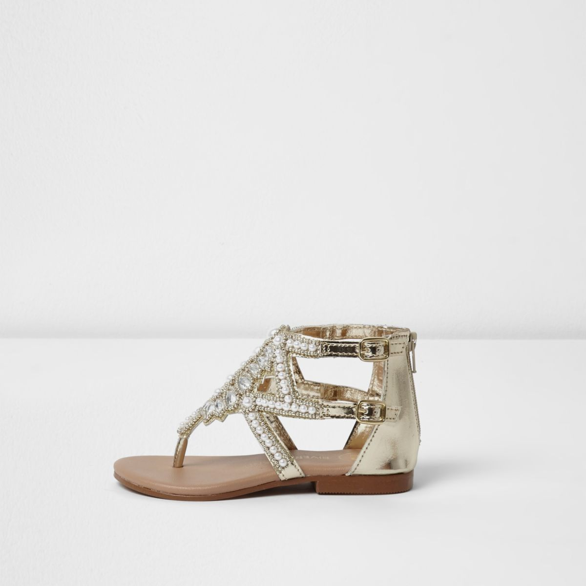 Mini girls silver embellished sandals