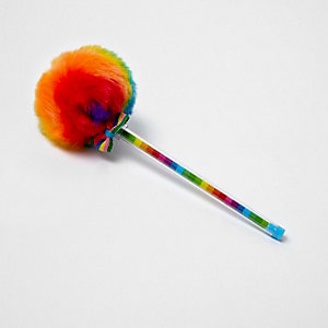 Girls red multicoloured pom pom pen