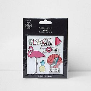 Autocollants en tissu motif plage roses pour fille