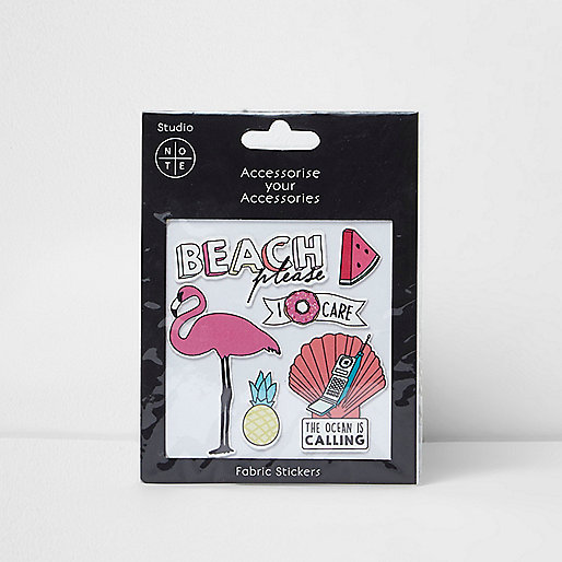 Girls pink beach fabric stickers