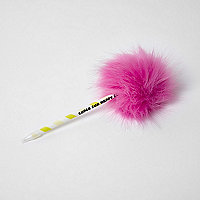Girls pink pom pom ball point pen