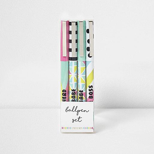 Green multicoloured ballpoint pen multipack