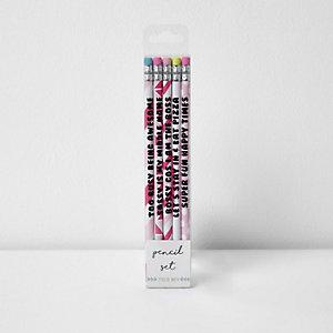 Girls pink pencil set