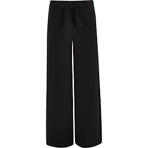 Girls black tie front palazzo trousers