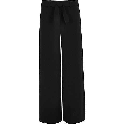 Girls black tie front palazzo pants