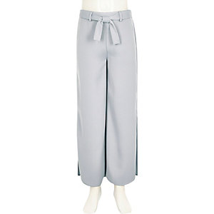Girls light blue side split palazzo pants
