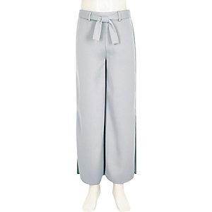 Pantalon palazzo bleu clair fendu sur le côté pour fille