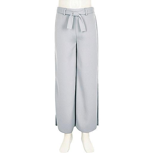 Girls light blue side split palazzo pants
