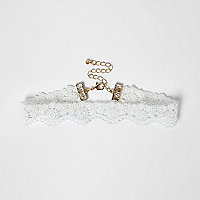 Girls white lace choker