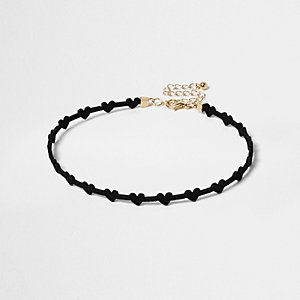 Girls black heart choker