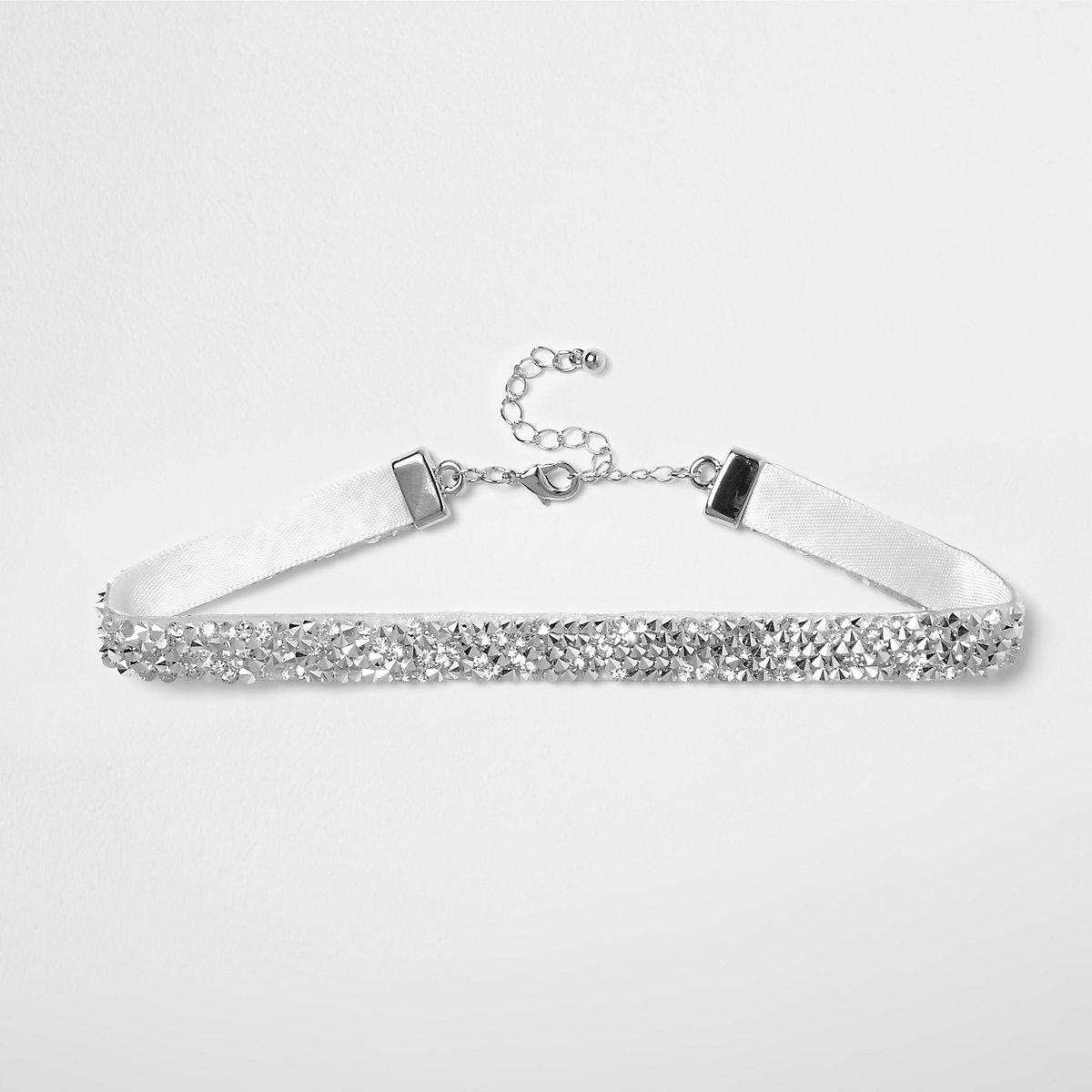 Girls silver tone diamante choker