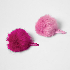 Girls pink pom pom hair clips