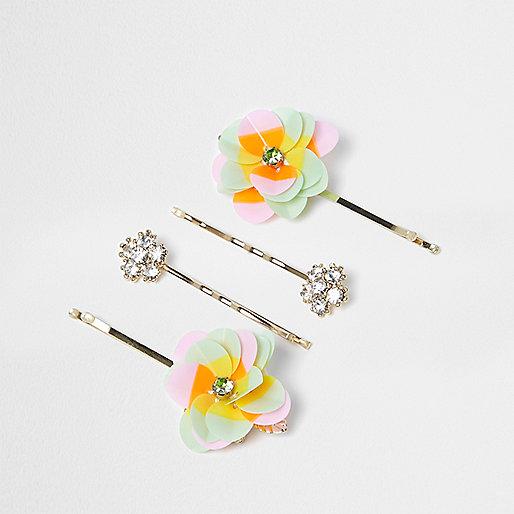 Girls gold flower hair clip multipack