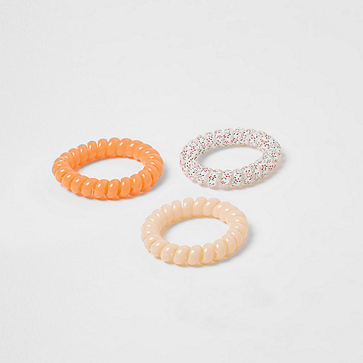Girls orange spiral hair tie pack