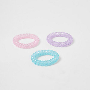 Girls blue spiral hair tie pack