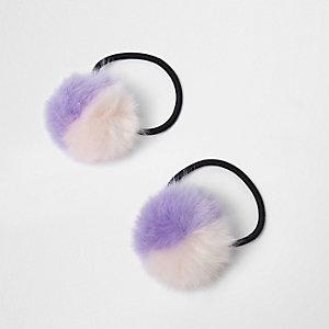 Lot d'élastiques à cheveux à pompons violets bicolores pour fille