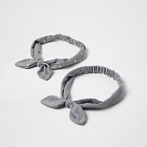 Girls grey gold dot hair bands multipack
