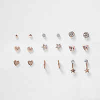 Girls pink tone diamante earrings multipack