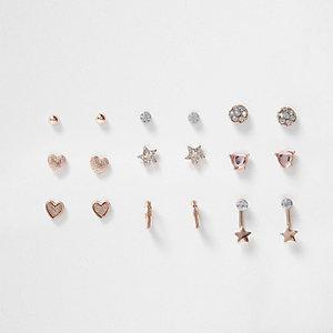 Multipack oorbellen met roze siersteentjes voor meisjes