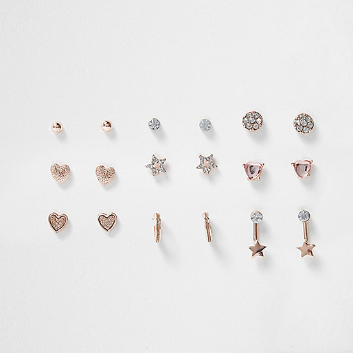 Girls pink tone diamante earrings multipack