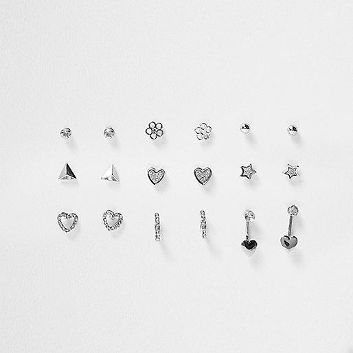 Girls silver tone rhinestone earrings multipack