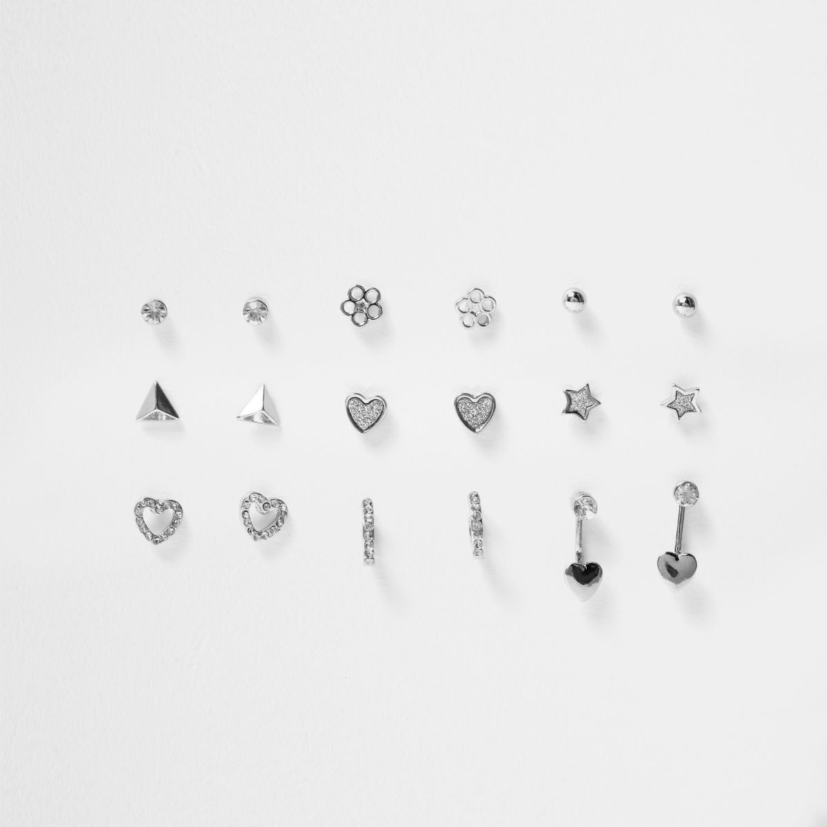 Girls silver tone diamante earrings multipack