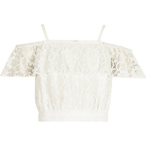 Girls cream lace bardot frill crop top