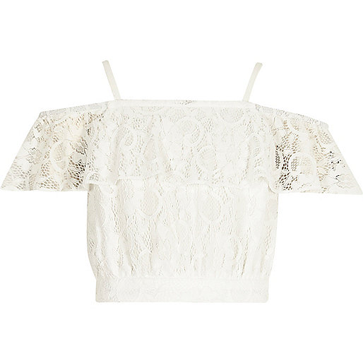 Girls cream lace bardot crop top