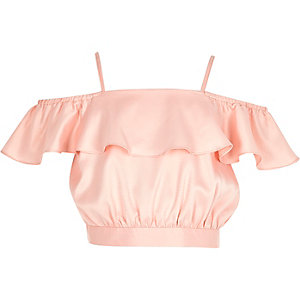 Pink bardot frill crop top