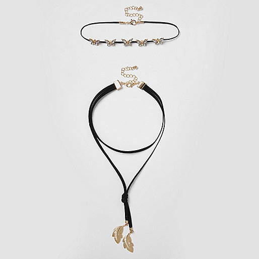Girls black butterfly bolo choker set