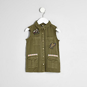 Mini girls khaki elephant sleeveless shacket