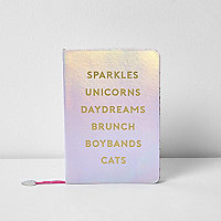 Girls silver metallic 'unicorns' notebook