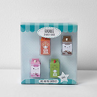 Girls blue scented erasers four pack