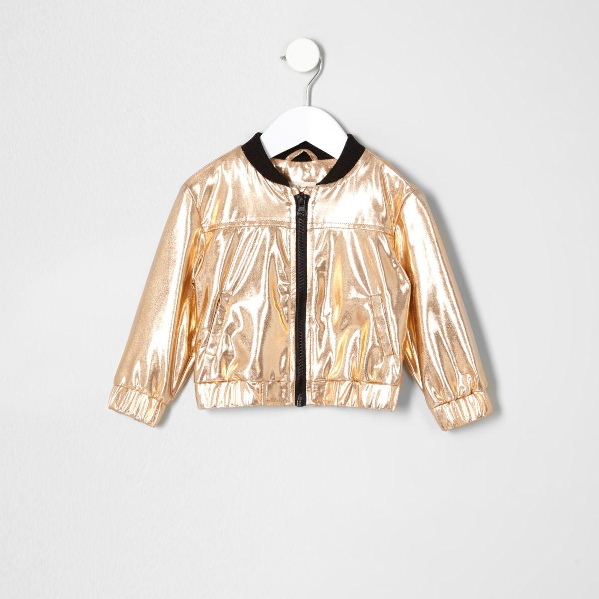 Mini girls gold bomber jacket