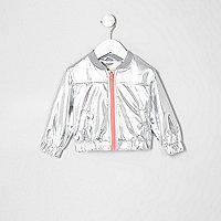 Mini girls silver bomber jacket