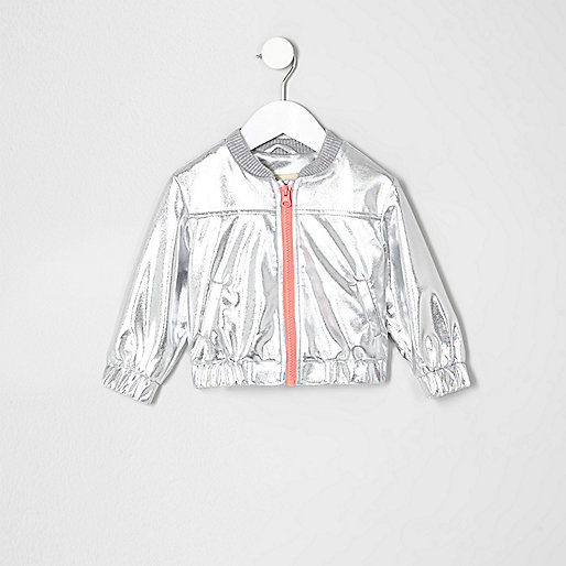 Mini girls silver bomber jacket