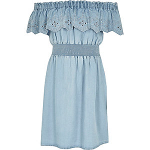 Girls blue frill denim bardot dress