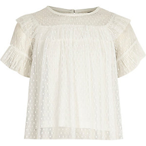 Girls cream mesh lace frill top