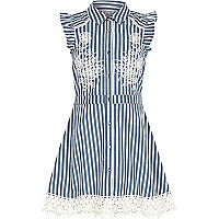 Girls blue stripe embroidered tea dress