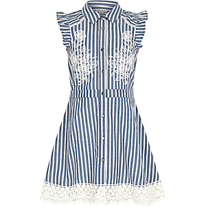 Girls blue stripe embroidered tea dress