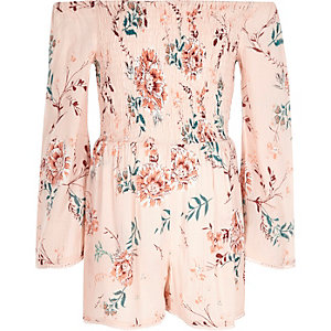 Girls pink floral print shirred playsuit