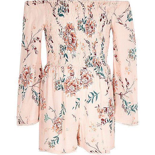 Girls pink floral print shirred romper
