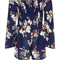 Girls blue floral print shirred playsuit