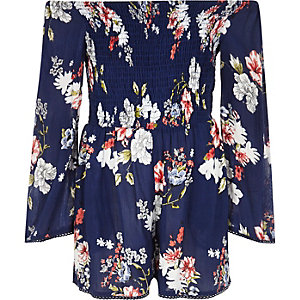 Girls blue floral print shirred romper