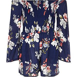 Combi-short à fleurs bleu froncé pour fille