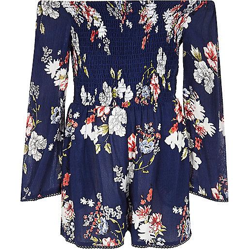 Girls blue floral print shirred romper