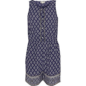 Girls blue embellished tile print romper