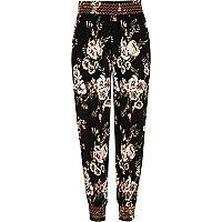 Girls black floral print shirred joggers