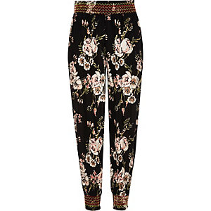 Girls black floral print shirred joggers