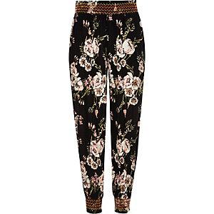 Pantalon de jogging froncé imprimé fleuri noir pour fille
